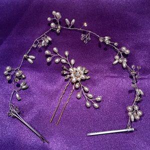 Accessories - Bridal Pearl and Crystal Hair Vine & Hair Pin
